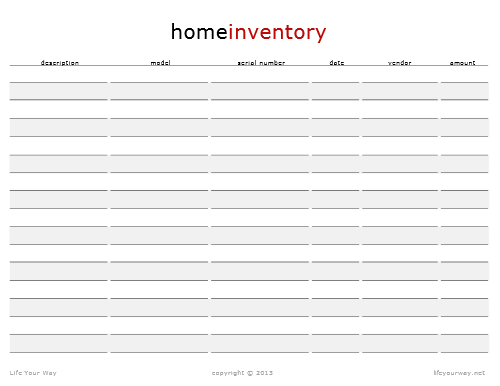 Printables Home Inventory Worksheet home inventory life your way click here to download