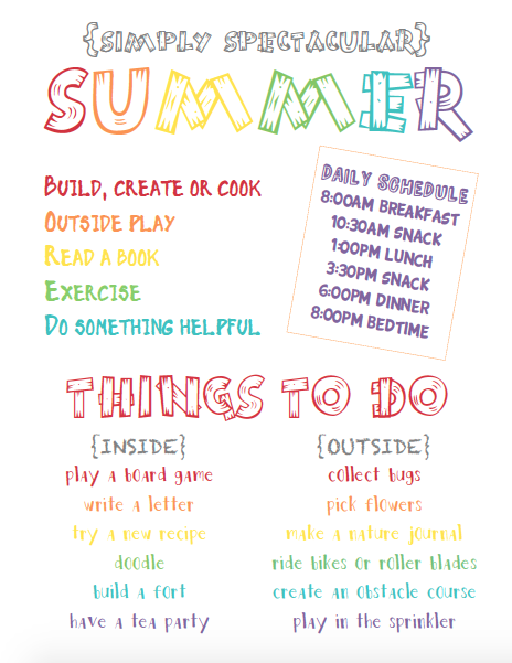 Simply Spectacular Summer Agenda Life Your Way