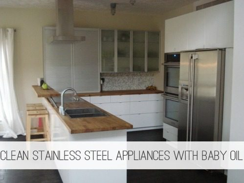 Clean Stainless Steel Appliances with Baby Oil {Frugal Cleaning} at lifeyourway.net