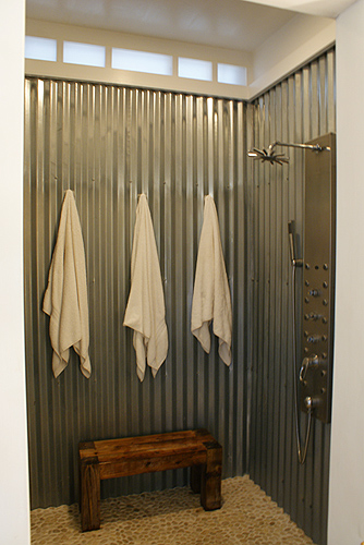 A virtual home tour the first level life your way for Corrugated iron bathroom ideas