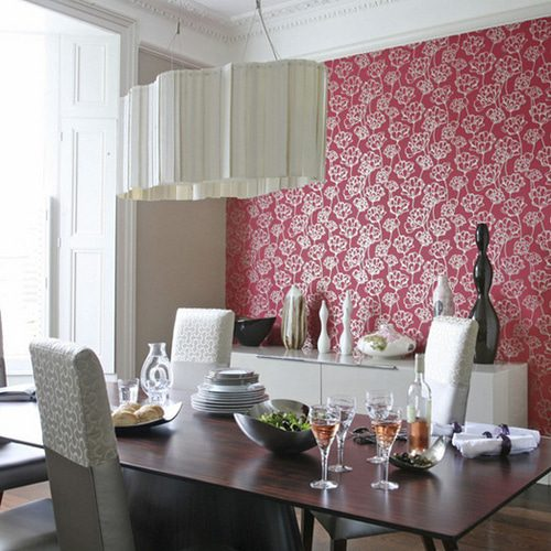 kitchen with wallpaper, lamp
