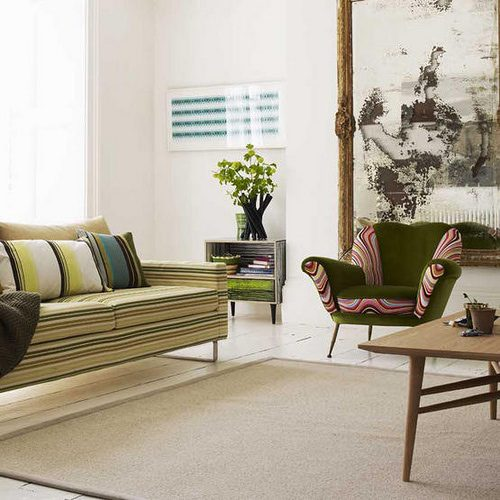 Stripey sofa, nice living room