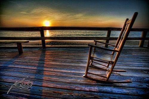 rocking chair sunset