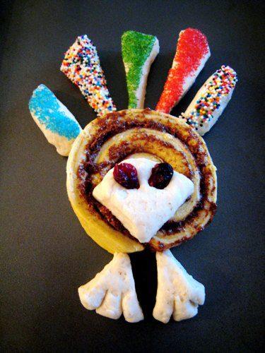 Turkey Shaped Breakfast Rolls