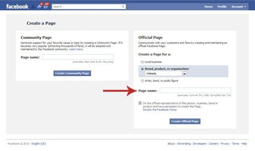 create a Facebook fan page