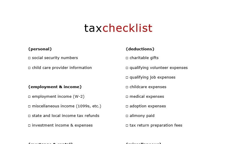 Free Printable Tax Checklist to Organize Your Tax Documents