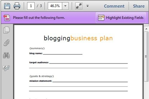 Free Blogging Business Plan Printable Life Your Way - Business plan template for kids