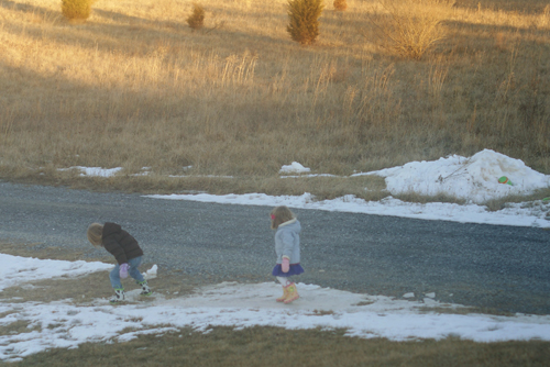 iceskating down the hill