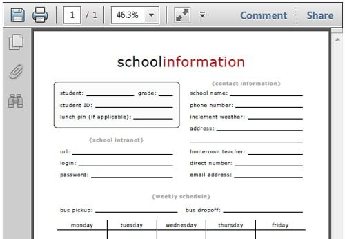 School Information Form for Your Home Management Notebook Life