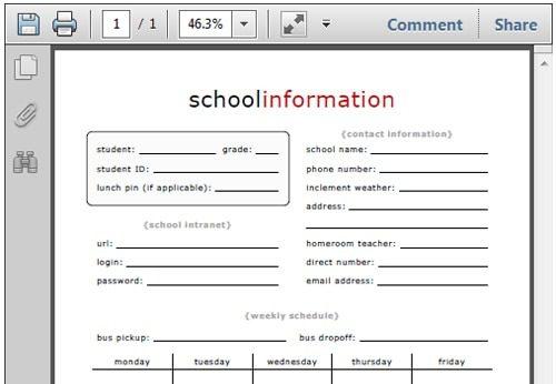 school-info-printable