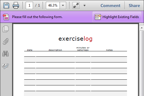 Print Out Exercise Log - Template