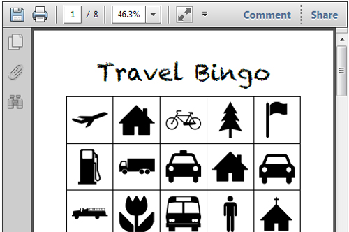 image about Travel Bingo Printable named Printable Generate Functions for Small children \u003e Existence Your Route
