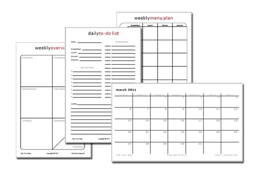 half-sheet printable planner