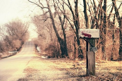 Country road and mailbox