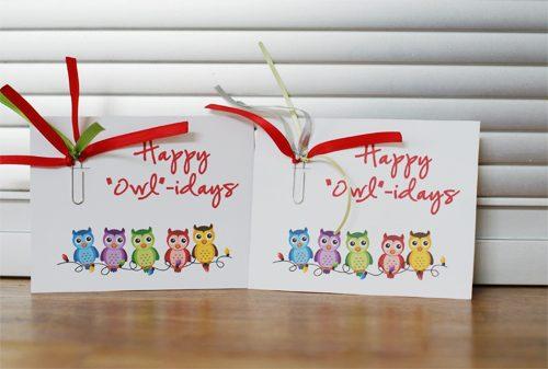 happy owlidays cards
