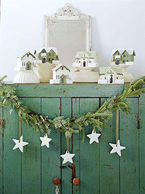 evergreen garland on a mantle