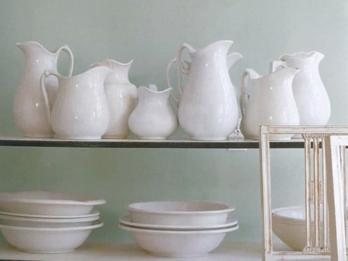 white pitchers and bowls