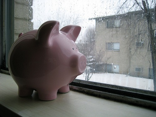 Piggy bank awaiting Spring