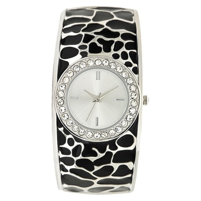 Black/Silver Round Case Bangle with Stones Watch