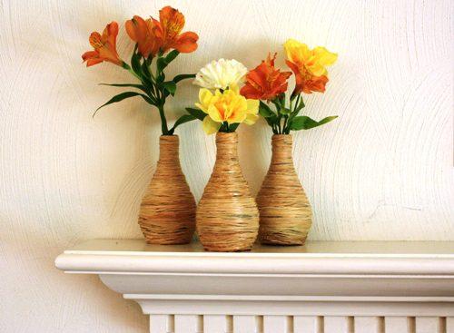 DIY Raffia Covered Vases