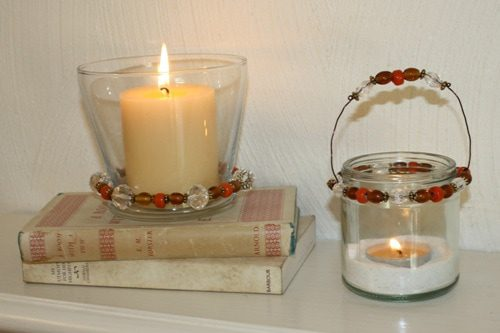 beads, candles, fall mantel, tablescape