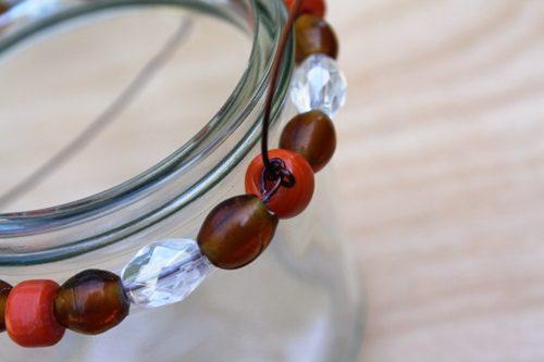 glass jar, candleholder, beads, Fall mantel, tablescape