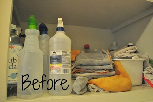 organizing homemade cleaners and supplies