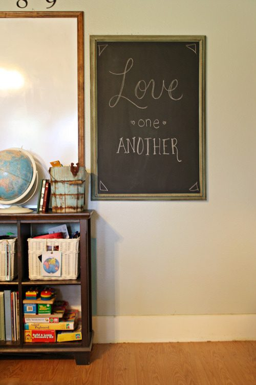 write a welcome message on a framed chalkboard