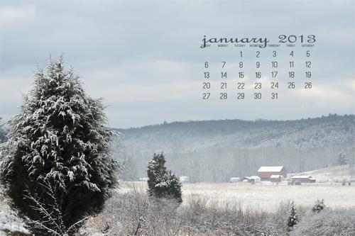 January 2013 Desktop Calendar
