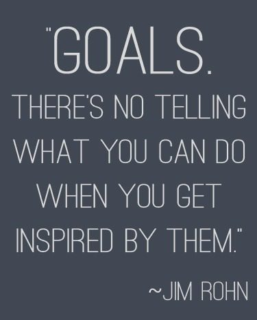 """Goals. There's no telling what you can do when you get inspired by them."" 