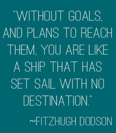 """Without goals, and plans to reach them, you are like a ship that has set sail with no destination."" 