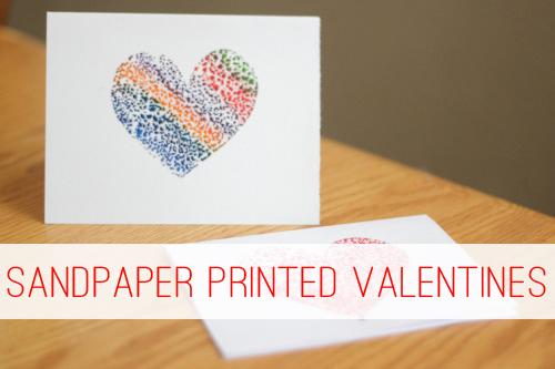 Sandpaper Printed Valentines