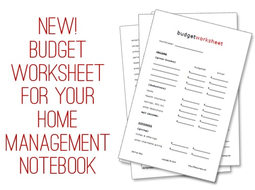 FREE Budget Worksheet Printable!