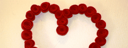 DIY Rolled Felt Flower Wreath for Valentine's Day