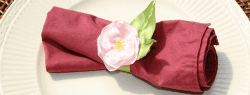 DIY Satin Flower and Grosgrain Ribbon Napkin Rings