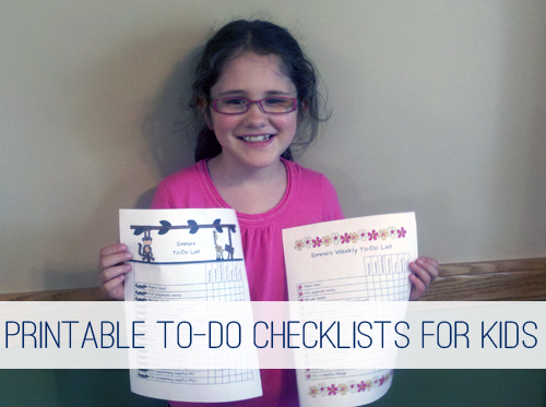 Printable To-Do Checklists for Kids at lifeyourway.net