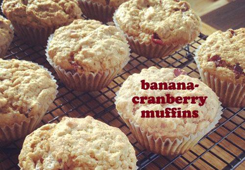 Banana-Cranberry Muffins at easyhomemade.net