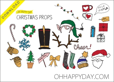 FREE Printable Photo Booth Props {101 Days of Christmas at lifeyourway.net}