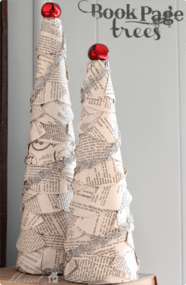 Book Page Trees {Handmade Decor Roundup at lifeyourway.net}