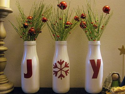 Joy Bottles {Handmade Decor Roundup at lifeyourway.net}