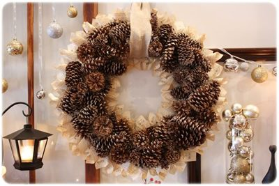Pinecone & Book Page Wreath  {DIY Wreath Roundup at lifeyourway.net}