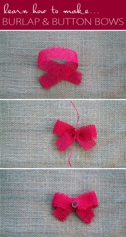 Learn How to Make Burlap & Button Bows {101 Days of Christmas at lifeyourway.net}