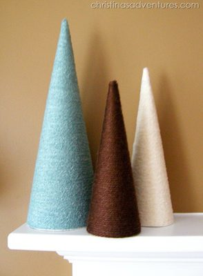 Yarn Wrapped Trees {Handmade Decor Roundup at lifeyourway.net}