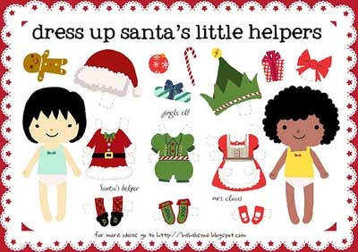 Santa's Little Helpers Paper Dolls {Printables for Kids Roundup at lifeyourway.net}