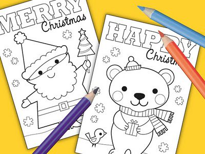 Color-In Christmas Cards {Printables for Kids Roundup at lifeyourway.net}