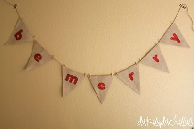 Be Merry Banner {DIY Burlap Decor Roundup at lifeyourway.net}