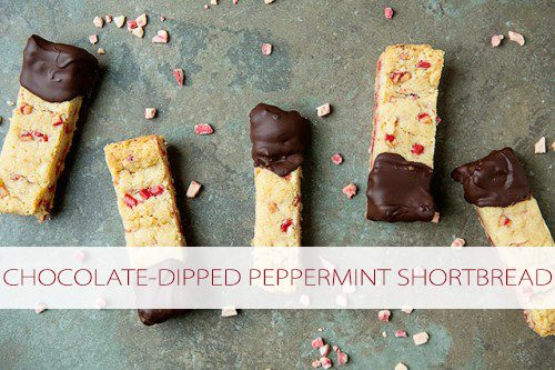 Chocolate-Dipped Peppermint Shortbread #recipe at lifeyourway.net
