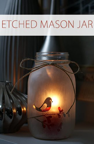 Etched Mason Jar Candle {101 Days of Christmas at lifeyourway.net}