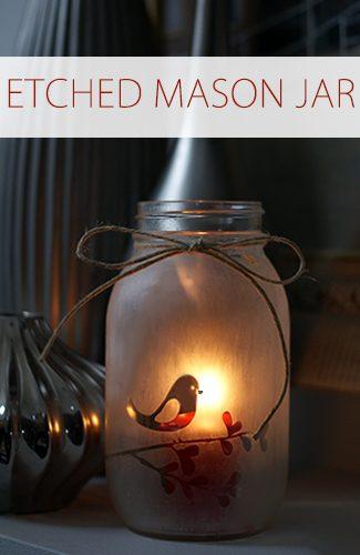 101 Days of Christmas: Etched Mason Jar Candle