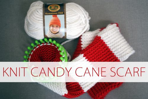 Knit Candy Cane Scarf {101 Days of Christmas at lifeyourway.net}